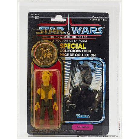 Star wars, power of the force, yak face, uk graders y80%, kenner f/c 92 bk, 1985.