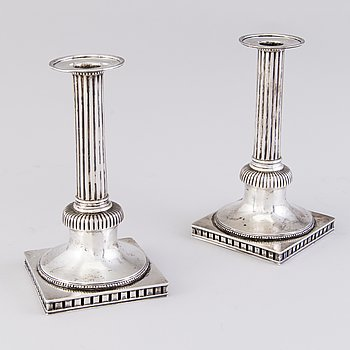 A PIAR OF FINNISH CANDLESTICKS, silver, Anders Christian Levon, Turku 1799.