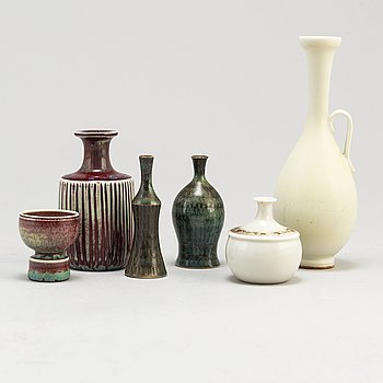 STIG LINDBERG, 5 miniatures, BERNDT FRIBERG, vase, stoneware, 1960/70's.