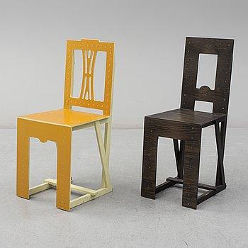"""LARS STENSÖ, stolar, 2 stycken, """"Woodstock"""", Woodstockholm, 2000-tal."""