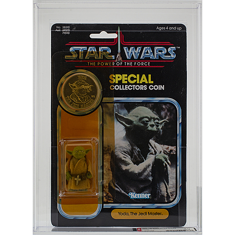 Star wars, yoda, potf 92 back, afa 40 y g, kenner 1985