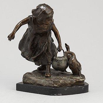 GUISEPPE FERRARI, skulptur, brons, signerad.