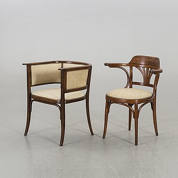 KARMSTOLAR, två stycken, Thonet och J & J Kohn, 1900-talets början.