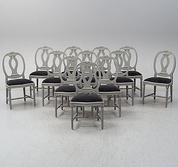 A set of twelve Gustavian style chairs, late 20th Century.