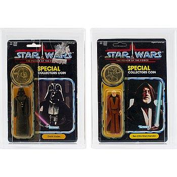 STAR WARS, Ben (Obi-Wan) Kenobi, POTF, 92 back & Darth Vader, POTF 92 back, Kenner 1984.