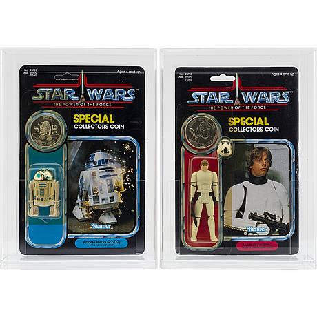 Star wars, luke skywalker (imperial stormtrooper outfit) 92 back & artoo detoo (r2 d2) 92 back, potf, kenner 1984