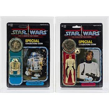 STAR WARS, Luke Skywalker (Imperial Stormtrooper Outfit) 92 back & Artoo-Detoo (R2-D2) 92 back, POTF, Kenner 1984.