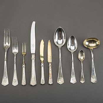 A Swedish 20th century 93 pcs of silver cutlery mark mostly by EO Möller Malmö, early 20th century, total weight ca 4480.