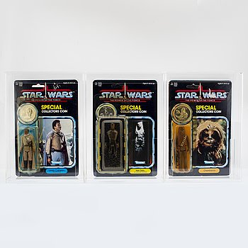STAR WARS, Chewbacca, Han Solo (In Carbonite Chamber) & Lando Calrissian (General Pilot), POTF, 92 back, Kenner 1984.