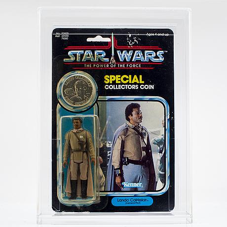 Star wars, chewbacca, han solo (in carbonite chamber) & lando calrissian (general pilot), potf, 92 back, kenner 1984