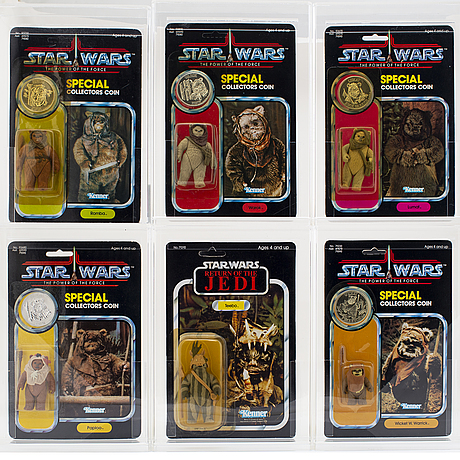 Star wars, 6 st, wicket w. warrick, teebo, warok, paploo, lumat, romba, potf & rotj, kenner 1983 1984