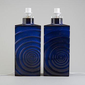 "CARI ZALLONI, bordslampor, ett par, keramik, ""Zyklon"", tillverkare Steulet & Co, Tyskland 1960-/70-tal."
