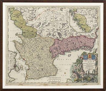 JOHANN BAPTIST HOMANN - KARTA, handkolorerat kopparstick, karta över Skåne, 1700-tal.