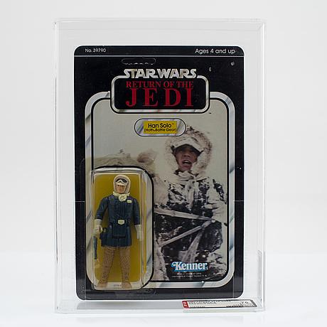 Star wars, lando calrissian, han solo (hoth battle gear) & fx-7 (medical droid), esb & rotj, afa, kenner 1980-1983.