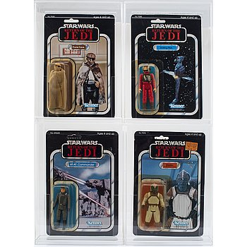 STAR WARS, Prune Face, B-Wing Pilot, Klaatu & AT-AT Commander, ROTJ, Kenner 1983.
