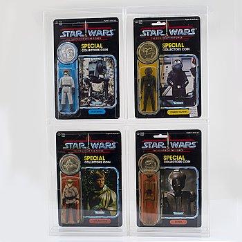 STAR WARS, Luke Skywalker (In Battle Poncho), AT-ST Driver, EV-9D9 & Imperial Gunner, POTF, Kenner 1984.