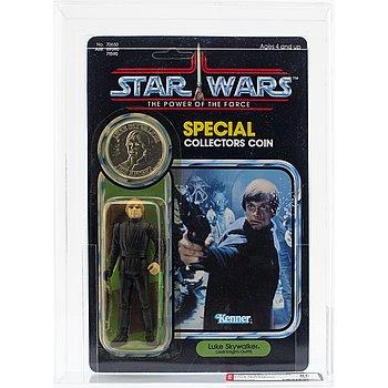 STAR WARS, Luke Skywalker (Jedi Knight Outfit), POTF 92 back, AFA 85 NM+, Kenner 1985.