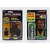 Star wars, rotj tri logo anakin skywalker, palitoy 1983 &  potf jawa 92 back, kenner 1984