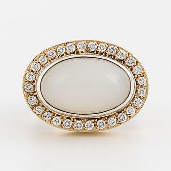 A Sandberg 'Mona' cabochon-cut moonstone and brilliant-cut diamond ring.