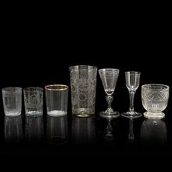Seven glasses, 18th and 19th century.