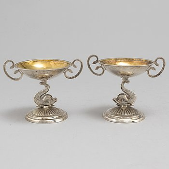 A pair of empire silver salts by Johan Petter Grönvall, Stockholm 1817.