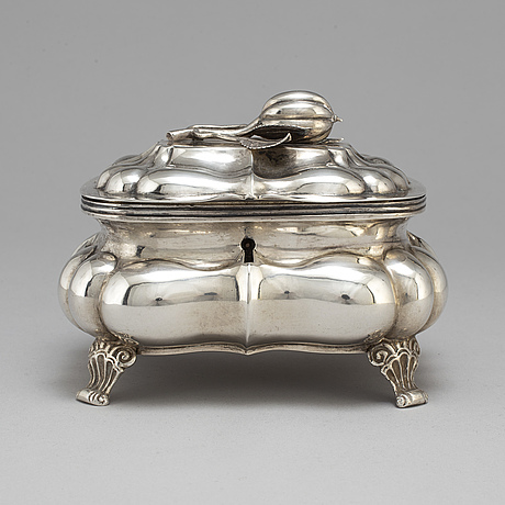 A russian 19th century parcel gilt silver sugar casket, unidentified makers mark, possibly pskov 1863