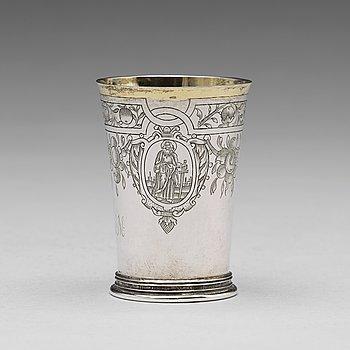 168. A German 17th century parcel-gilt silver beaker, mark of Andreas Pauli, Köln (1663-1669).