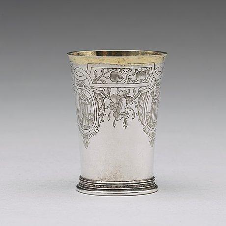 A german 17th century parcel-gilt silver beaker, mark of andreas pauli, köln (1663-1669).