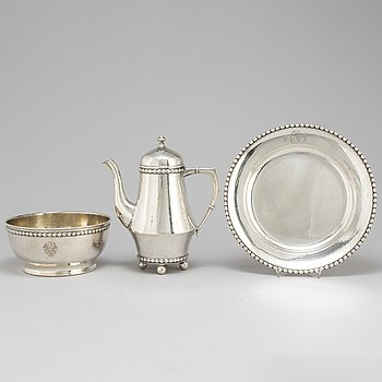 A silver dish, bowl and coffee pot,  K Andersson and CG Hallberg, Stockholm 1916-26.