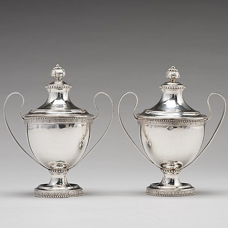 A pair of swedish 18th century silver sugar bowls and covers, mark of  fredrik petersson strö, stockholm 1784.
