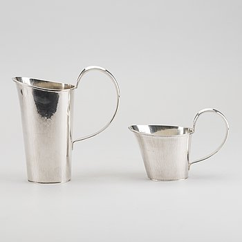 ANDERS ERICSON, two silver jugs, Sweden 1971 and 1972, 820g.