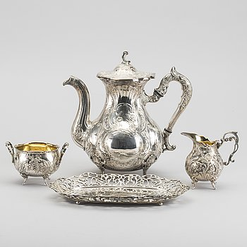 A 4-piece silver coffe service, rococo, similar pcs. Weight ca 1400 g.