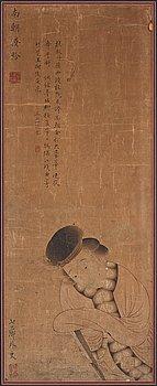 SCROLL, akvarell och tusch på papper. Qingdynastin, attribuerad till Gai Qi (1773-1828).