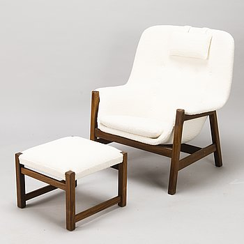 CARL GUSTAF HIORT AF ORNÄS, A 1960s 'Caravelle' armchair and ottoman for Puunveisto Oy - Wood work Ltd.