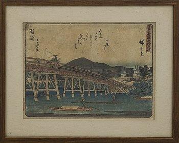 UTAGAWA HIROSHIGE I, möjligen efter, färgträsnitt, Japan 1800-tal. Från 'Femtiotre raststationer från Tokaido'.