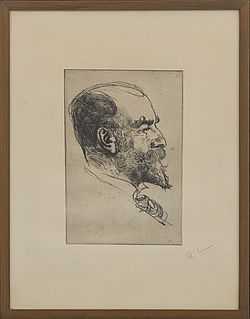 "CARL LARSSON, soft ground etching, ""Axel Tallberg"" signed."