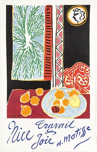 Henri matisse, efter, affisch, signerad och daterad 47 i trycket.