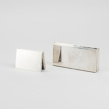 A Swedish set of two silver cigarette boxes mark of Wiwen Nilsson Lund 1928-30, total weight ca 421 gr.