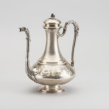 A silver coffee pot later part of the 19th century, weight ca 554 gr.