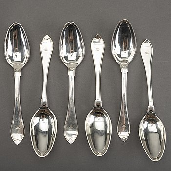A Swedish set of six silver spoons mark of M Söderberg Visby 1800, weight ca 442 gr.