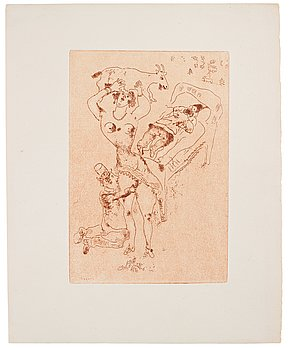 "628. Marc Chagall, ""Die Wollust, III"" from: ""Les Sept péchés capitaux""."