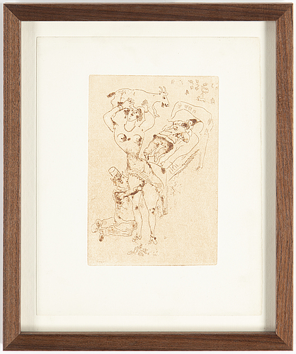 Marc chagall, marc chagall, etching and drypoint printed in sanguine, signed in the plate, motif from 1925, printed in 1926.