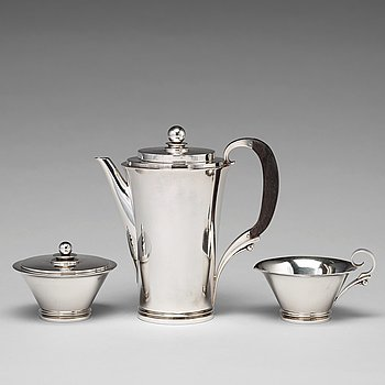 "134. Harald Nielsen, a ""Pyramid"" sterling three pieces coffee service, Georg Jensen, Copenhagen 1933-44, designnr 600A,"