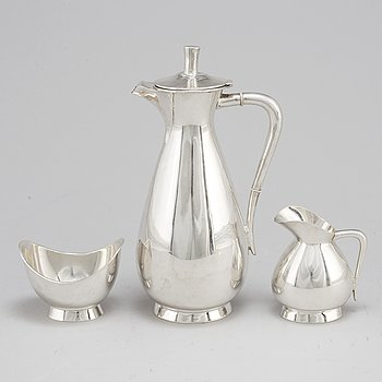 A three piece sterling silver coffee set, Germany. 20th century.