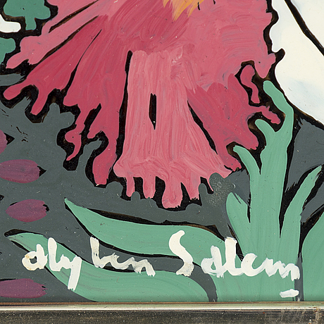 Aly ben salem, mixed media on glass, signed.