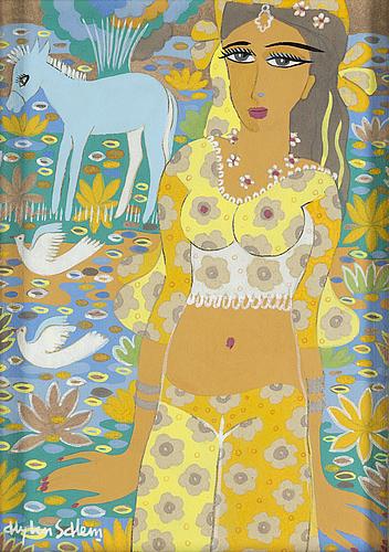Aly ben salem, gouache/watercolour, signed.