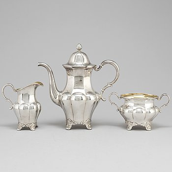 A three part rococo style silver coffee service, GAB, Stockholm, 1931.