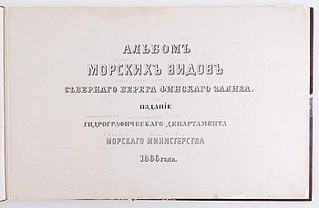 """BOK, """"MARINA VYER"""" Finska vikens norra kust, förtoningar /  grafiska bilder av Aleksej Petrovich Bogoljubov, 1866."""