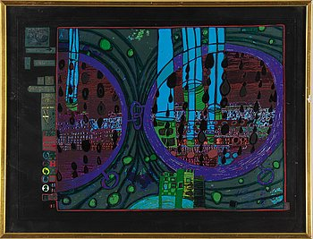 FRIEDENSREICH HUNDERTWASSER, colour litograph with metall stamping, numbered  759/3000.