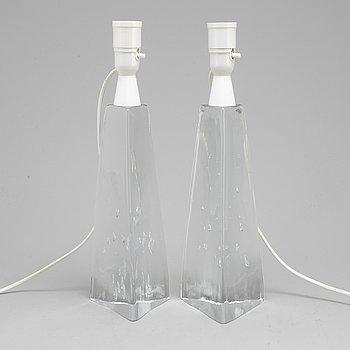 BORDSLAMPOR, ett par, glas, Sverige, 1960-tal.